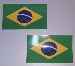 "2 X Brazil Decal 2.5"" X 1.5"" Brazilian Flag Brasil Sticker.  Laminated USPS - $3.99"