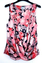 H&M Pink FLORALS Print DRAPED CROSSOVER Sleeveless TOP Bubbled Shirt 4 F... - $19.97