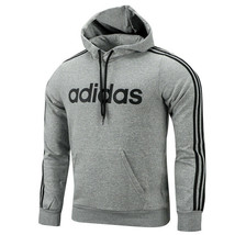 Adidas Essential 3-Stripes Pullover Hoodie Pocket Long Sleeves Grey DU0495 - $63.99