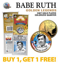 BABE RUTH Yankees #3 Golden Legends 24K Gold Plated State Quarter US Coi... - $15.79