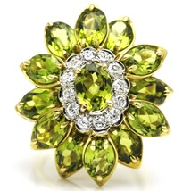 Peridot and Diamond Flower Cocktail Ring in 18k Yellow Gold - $3,163.05