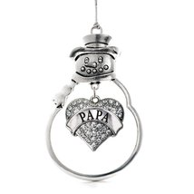 Inspired Silver Papa Pave Heart Snowman Holiday Ornament - €12,87 EUR