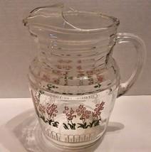 Vintage GLASS JUICE PITCHER W/ ICE LIP Flower & Trellis Design 2qt Retro - $19.79