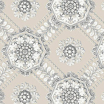Medallion Wallpaper Beige, Metallic Silver Norwall Wallcovering CS35629 - $34.99