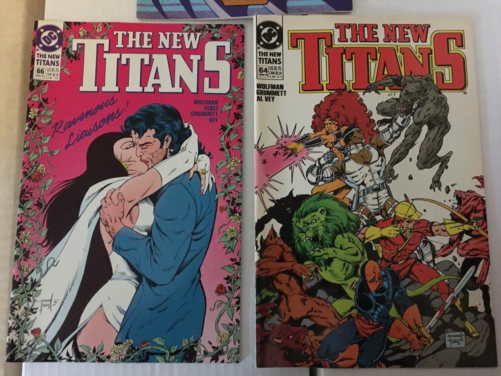 The New Teen Titans 62 - 66 1990 VF+/NM Condition DC Comic Book Lot Of 5