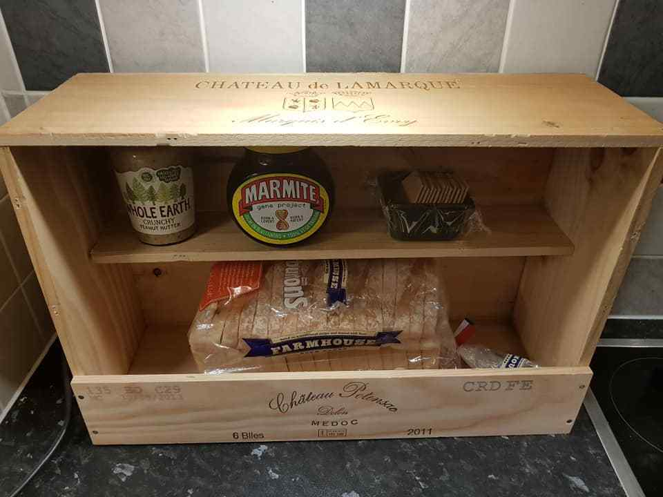 Handmade French Wooden Wine Box Bread Bin And Similar Items