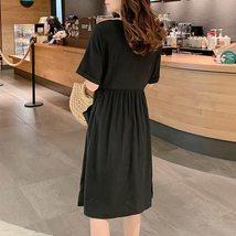 Maternity's Dress V Neck Short Sleeve Loose Solid Color Dress image 6