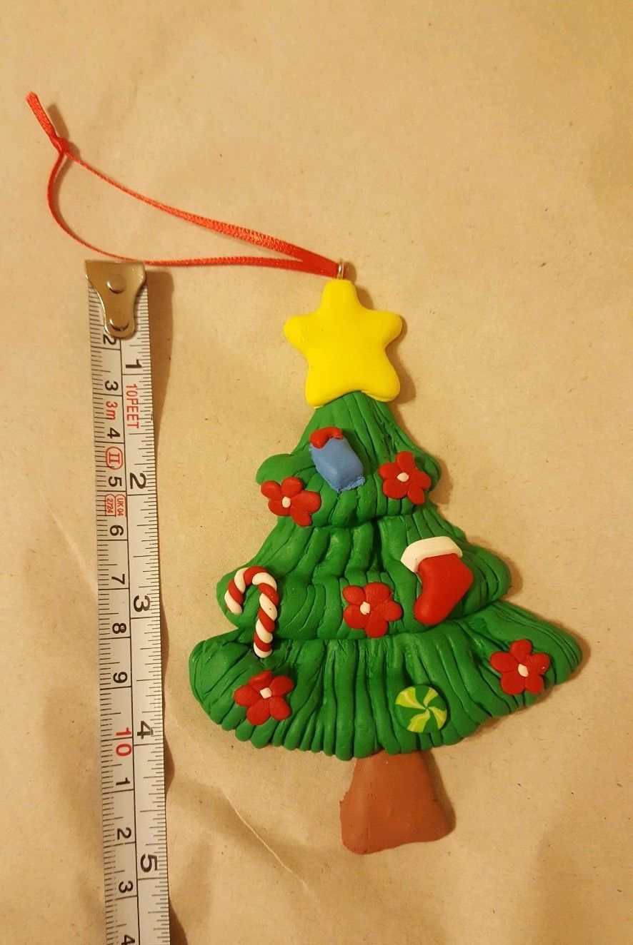 Primary image for Clay Dough Christmas xmas Tree w candy cane stocking & flowers Ornament new 5""