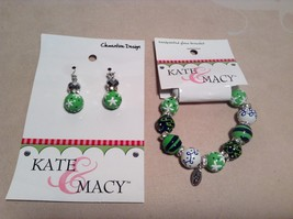 NEW Kate & Macy Green Hand Painted Glass Bracelet/Earring Set