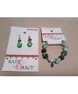 NEW Kate & Macy Green Hand Painted Glass Bracelet/Earring Set - $34.65