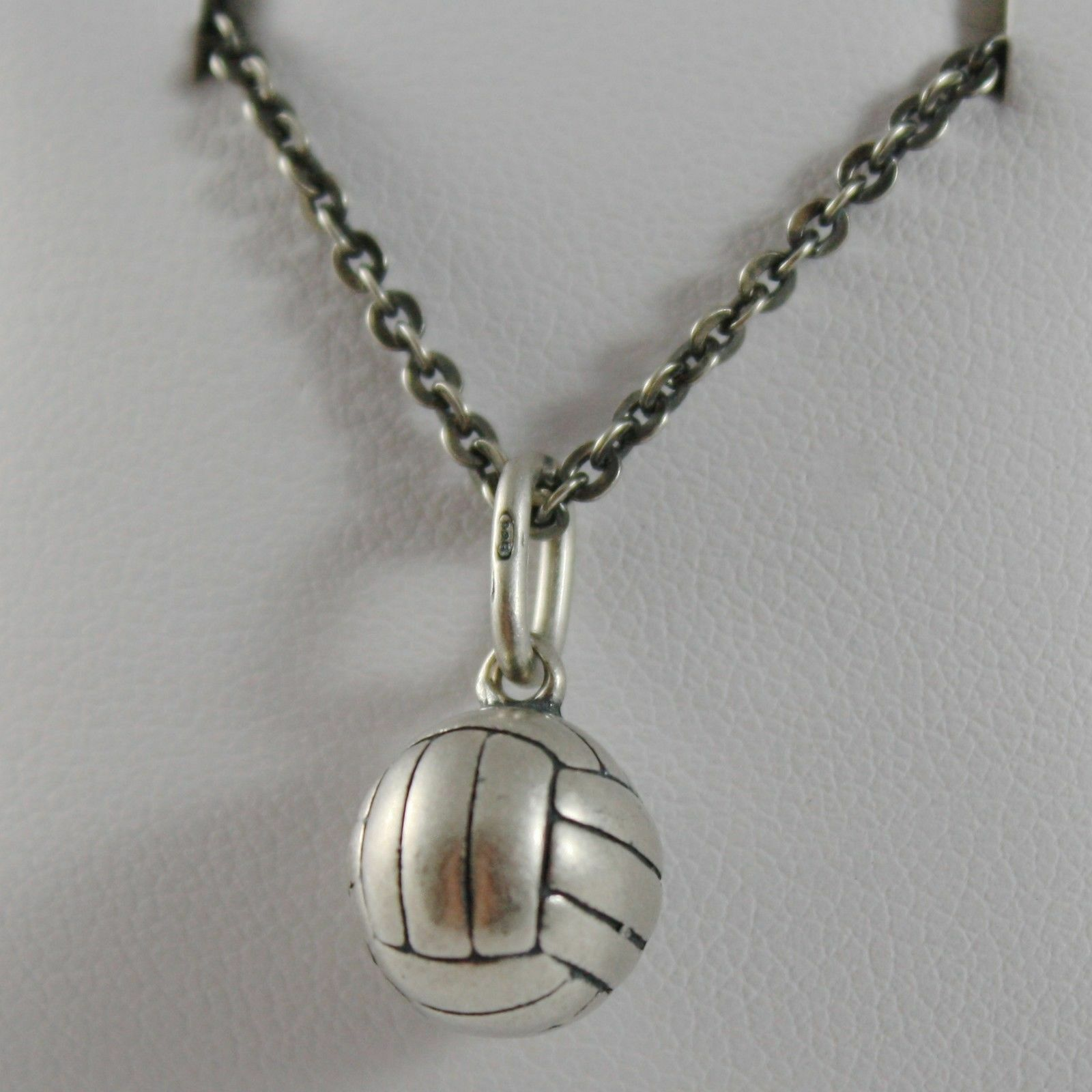 Silver Necklace 925 Burnished Pendant to Ball from Volleyball Made in Italy