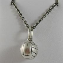 Silver Necklace 925 Burnished Pendant to Ball from Volleyball Made in Italy image 1