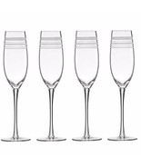 Kate Spade Library Stripe Crystal Flutes Set Of 4 Toasting Wedding Lenox... - €36,16 EUR