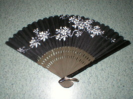 """VINTAGE CHINESE BLACK CLOTH FAN HAND PAINTED FLOWERS WITH WOOD RIBS 6"""" - $8.99"""