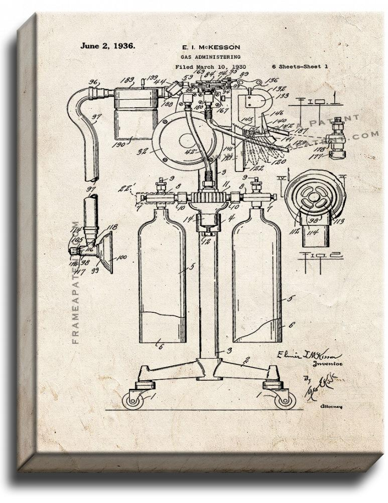 Primary image for Anesthetics Machine Patent Print Old Look on Canvas