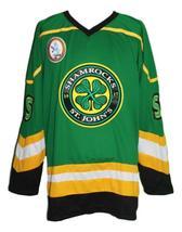 Custom Name # St John's Shamrocks Retro Hockey Jersey New Green Rhea #3 Any Size image 1