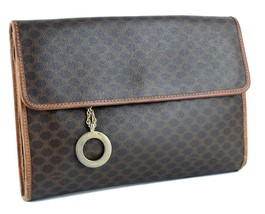 Auth CELINE Paris Brown Macadam Canvas & Leather Secondary Clutch Hand B... - $137.61