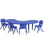 35''Wx65''L Half-Moon Blue Plastic Height Adjustable Activity Table Set,... - $301.16