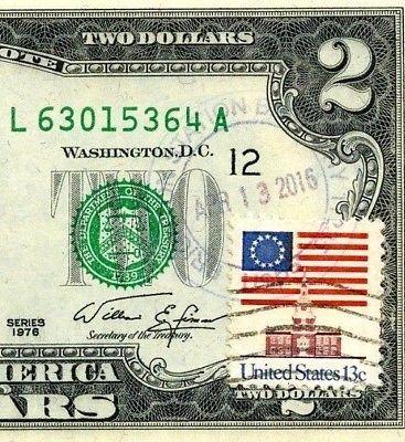 MONEY US $2 DOLLARS 1976 SAN FRANCISCO STAMP CANCEL SPOTTED WATER BEETLE GEM UNC image 4