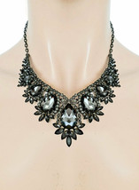 Classic Vintage Inspired Evening Necklace Earrings Black Crystal Costume Jewelry - $35.15