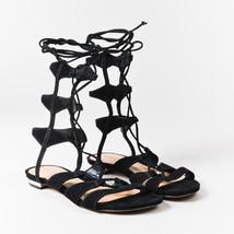 Sandals 5 Black 6 Suede Lace SZ Leather Gladiator Schutz Mid Up Calf 8Pqdwvx