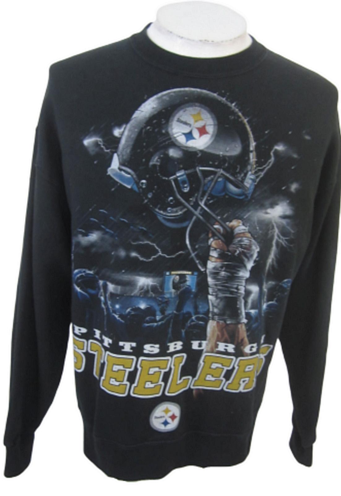 Pittsburg Steelers Sweatshirt NFL Team Apparel L black Jerzees - $17.24