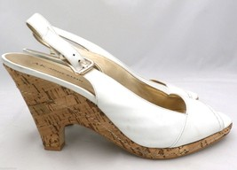 Anne Klein Xavia Open Toe Leather Shoes Pumps Wedges White Cork 9.5 M - $39.56