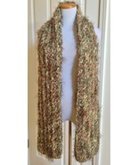 """NWT FIGEN Green Brown Eyelash Drama Knit Scarf Wrap Shawl Turkey 20"""" x 8... - $19.99"""