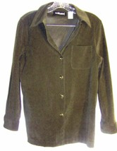 Sz 6 -  Sag Harbor Petite Spinach Green thick fabric Long Sleeve Shirt - $33.24