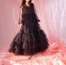 Women Black Maxi Dress Gown Long Sleeve Loose Tiered Tulle Party Dress Plus Size image 6
