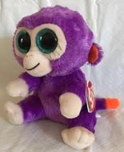 "2015 Ty Beanie Boos GRAPES the Purple & Orange Plush Monkey 6"" Retired MWMT - $14.84"
