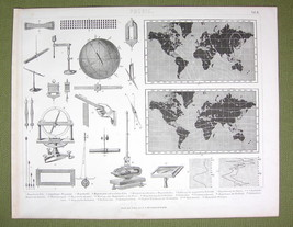 PHYSICS Earth Magnetism World Map Needle Inclination etc - 1870s Print E... - $21.60