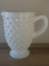 """Vintage ~  Fenton White Milk Glass ~ Hobnail ~ 3.5"""" Tall Miniature Pitcher - $39.60"""