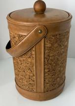 Vintage 1970's Cork Ice Bucket Nice condition Retro Vinyl/leather Look - $27.71