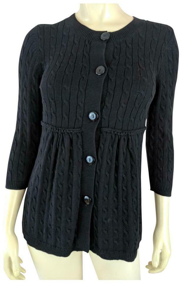 ANN TAYLOR LOFT Sweater XS Black Cotton Babydoll Empire Waist Reverse Seam - $28.71