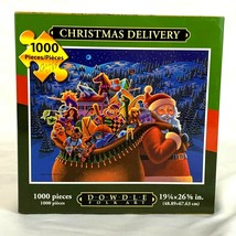 Christmas Delivery Jigsaw Puzzle Dowdle Folk Art 1000 Piece Santa Toys - $22.19