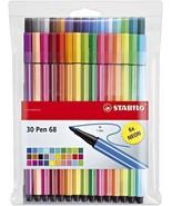 Stabilo Pen 68 Felt Tip Fibre tip Pens 1.0mm - 30 Assorted Colours in Wa... - $41.41