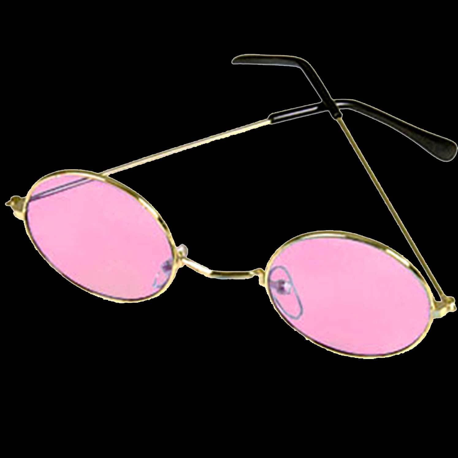 Groovy Hippie Funky Novelty ROUND COSTUME GLASSES Retro Lennon Gold Frames-PINK