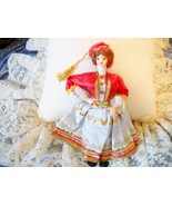 VINTAGE GREEK DOLL W/ORNATE COSTUME, CLOTH FACE, HARD PLASTIC BODY - $7.49