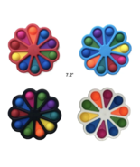7 INCH RAINBOW FLOWER BUBBLE POP IT SILICONE STRESS RELIEVER TOY #484 ha... - $12.34