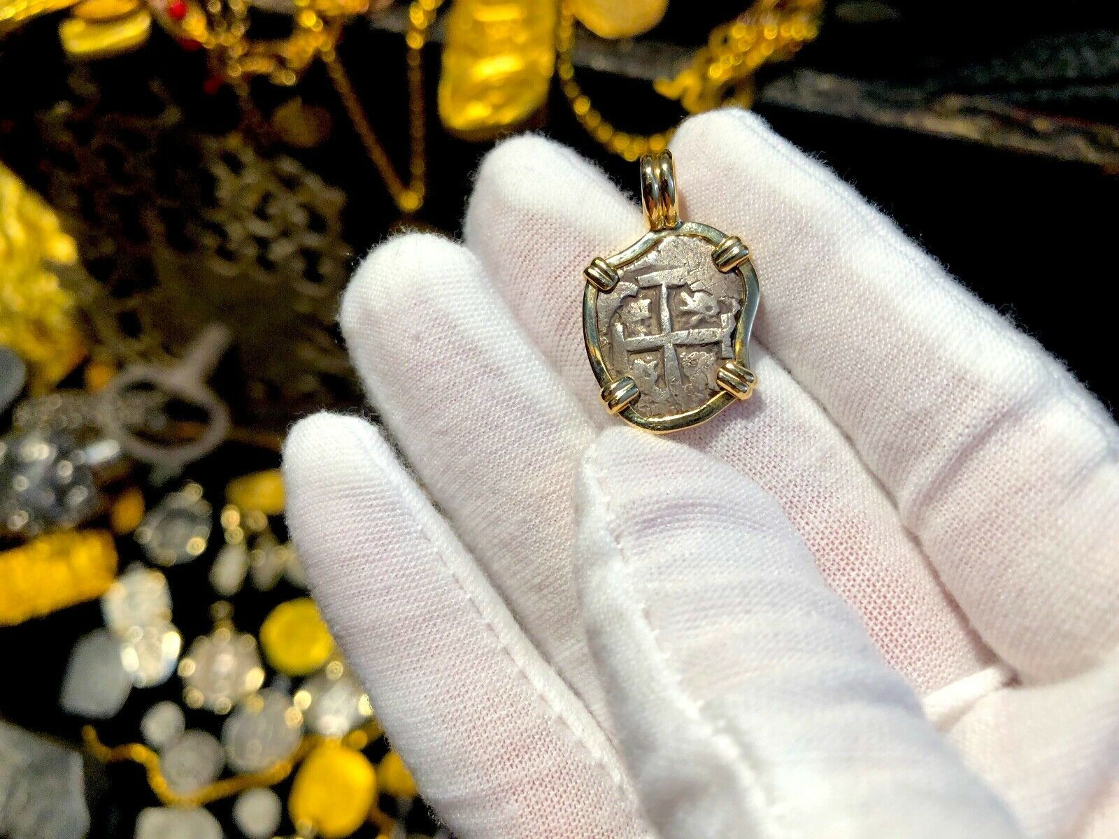 "Primary image for BOLIVIA 1 REAL DATED 1743 ""DATED"" 14KT BEZEL PENDANT TRESAURE JEWELRY NECKLACE"