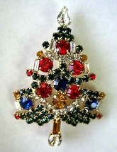 MULTI COLORED RHINESTONE CHRISTMAS TREE BROOCH PIN GARLAND AND CANDLES - $29.69