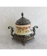 Trinket Box -- Antique -- Floral and Metal -- No Mark -- Unknown Origin - $24.99