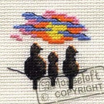 Mouseloft Mini Cross Stitch Kit - Sunset Birds, Stitchlets Collection - $3.61