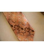PRONTO UOMO Paisley orange peach brown 100% SILK Neck Tie NeckTie- LONG ... - $36.62