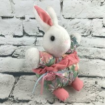 Vintage Bunny Rabbit Plush White In Pink Floral Outfit Soft Easter Decor - $19.79