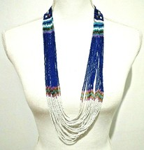 Ethnic Beaded Bib Necklace Blue White Long Strands Boho Hippie Casual Co... - $14.03