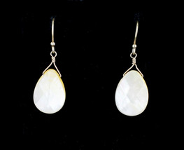 VTG Gold Vermeil Sterling Silver Teardrop Facet Mother Of Pearl Dangle E... - $60.29