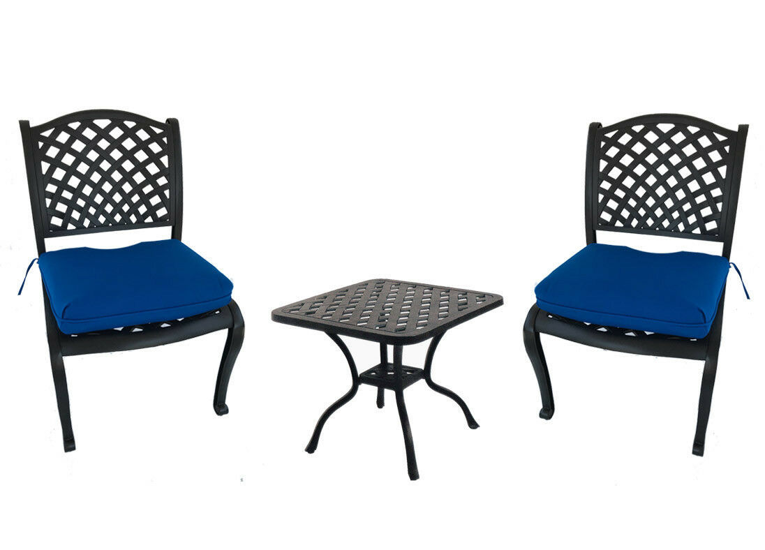 3 piece bistro set outdoor dining patio cast aluminum chairs end table Sunbrella