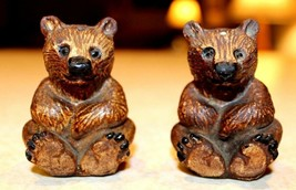 Vintage Ceramic Brown Bear Salt and Pepper Shakers Mint - $11.69